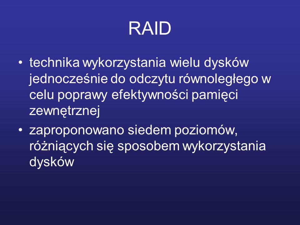 RAID technika wykorzystania wielu dysków jednocześnie do odczytu równoległego w celu poprawy efektywności pamięci zewnętrznej.