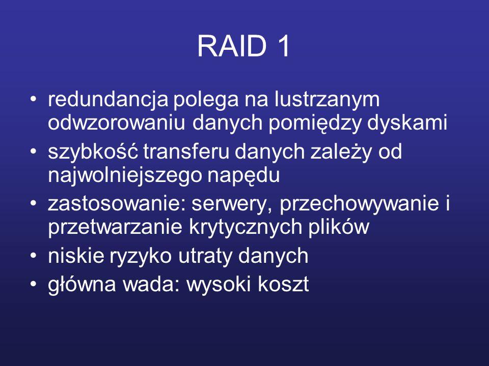RAID 1 redundancja polega na lustrzanym odwzorowaniu danych pomiędzy dyskami. szybkość transferu danych zależy od najwolniejszego napędu.
