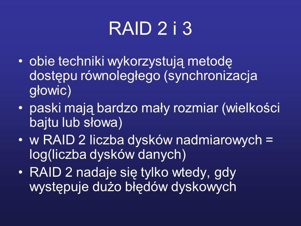 RAID 2 i 3 obie techniki wykorzystują metodę dostępu równoległego (synchronizacja głowic) paski mają bardzo mały rozmiar (wielkości bajtu lub słowa)