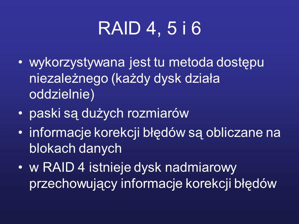 RAID 4, 5 i 6 wykorzystywana jest tu metoda dostępu niezależnego (każdy dysk działa oddzielnie) paski są dużych rozmiarów.