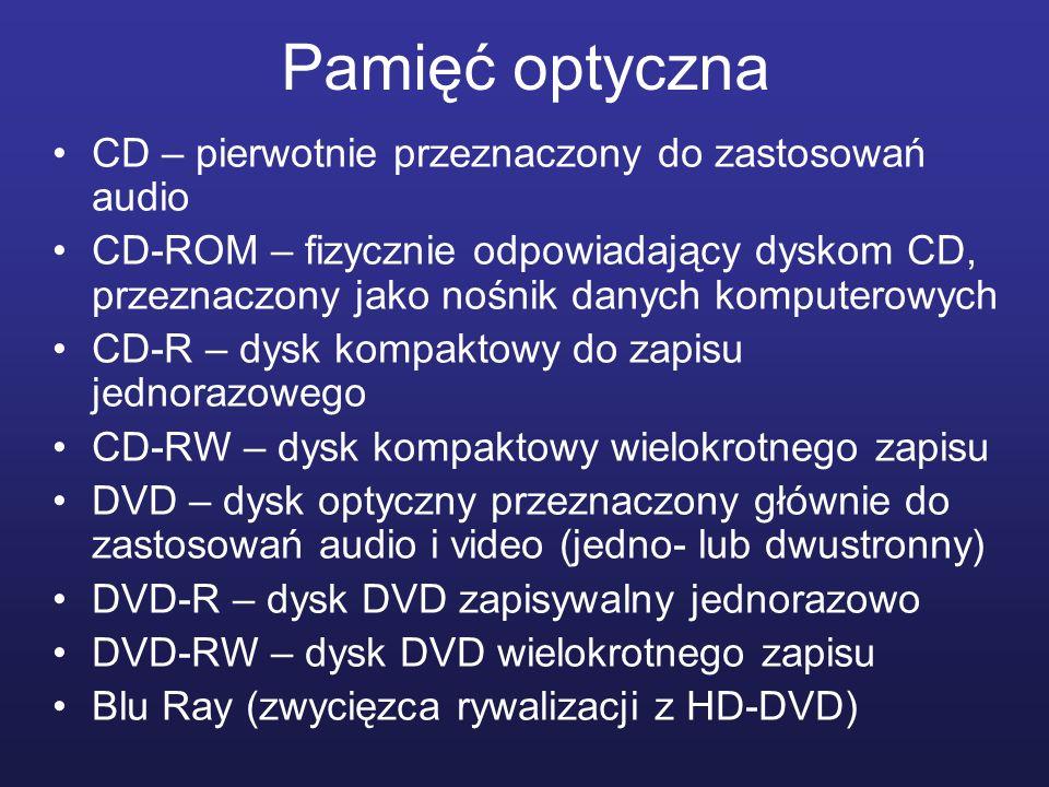 Pamięć optyczna CD – pierwotnie przeznaczony do zastosowań audio