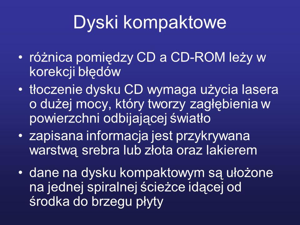 Dyski kompaktowe różnica pomiędzy CD a CD-ROM leży w korekcji błędów