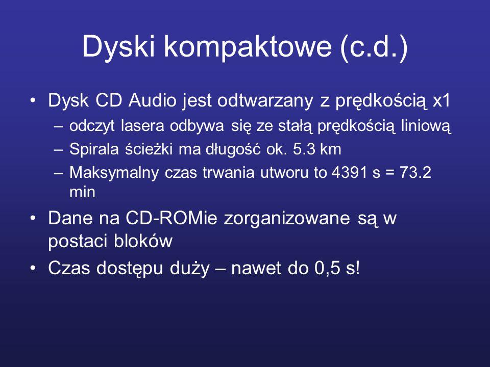 Dyski kompaktowe (c.d.) Dysk CD Audio jest odtwarzany z prędkością x1