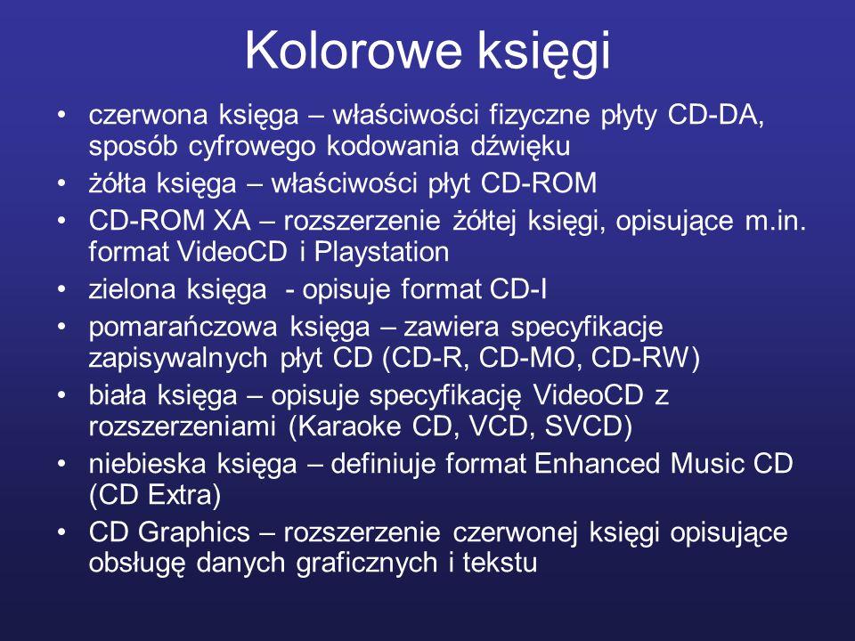 Kolorowe księgi czerwona księga – właściwości fizyczne płyty CD-DA, sposób cyfrowego kodowania dźwięku.