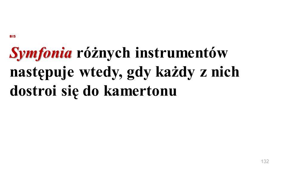 BIS Symfonia różnych instrumentów następuje wtedy, gdy każdy z nich dostroi się do kamertonu