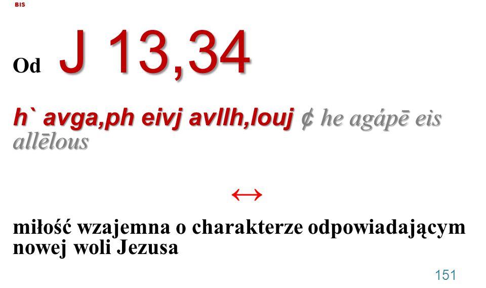 BIS Od J 13,34. h` avga,ph eivj avllh,louj ¢ he agápē eis allēlous. miłość wzajemna o charakterze odpowiadającym nowej woli Jezusa.