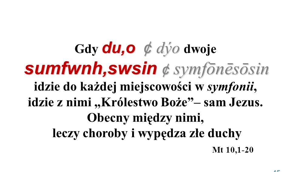 """Gdy du,o ¢ dýo dwoje sumfwnh,swsin ¢ symfōnēsōsin idzie do każdej miejscowości w symfonii, idzie z nimi """"Królestwo Boże – sam Jezus."""