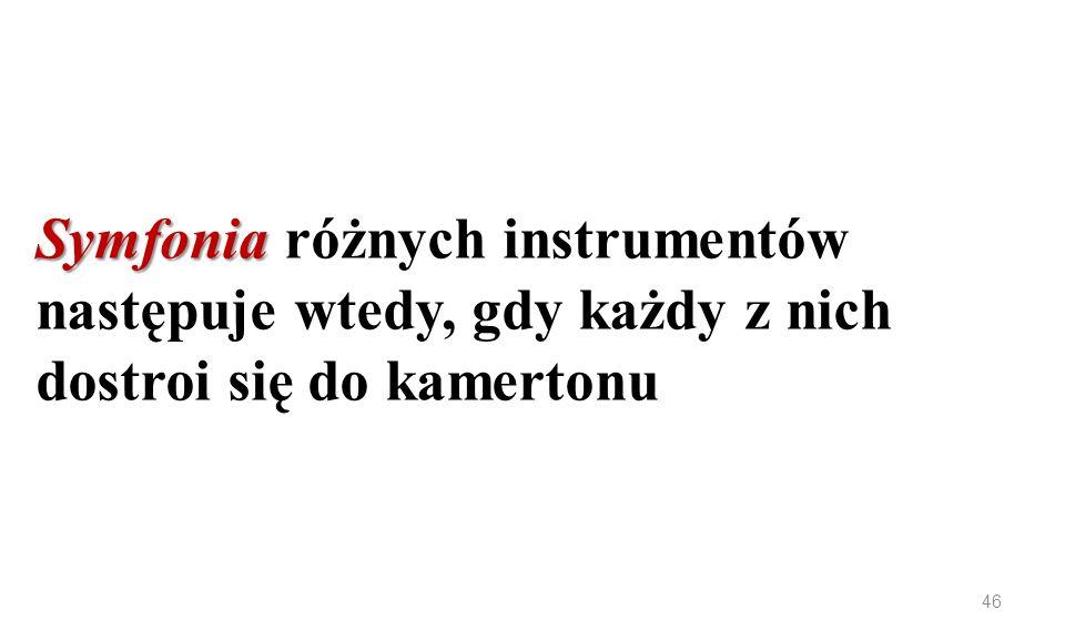 Symfonia różnych instrumentów następuje wtedy, gdy każdy z nich dostroi się do kamertonu