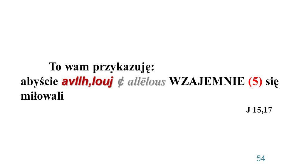 To wam przykazuję: abyście avllh,louj ¢ allēlous WZAJEMNIE (5) się miłowali J 15,17