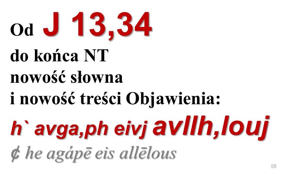 Od J 13,34 do końca NT nowość słowna i nowość treści Objawienia: h` avga,ph eivj avllh,louj ¢ he agápē eis allēlous