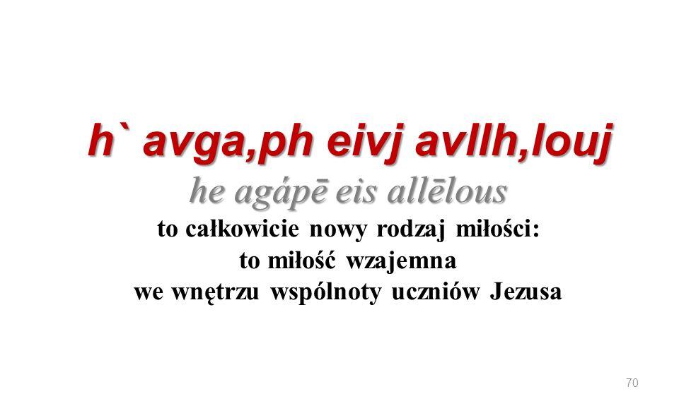 h` avga,ph eivj avllh,louj he agápē eis allēlous to całkowicie nowy rodzaj miłości: to miłość wzajemna we wnętrzu wspólnoty uczniów Jezusa