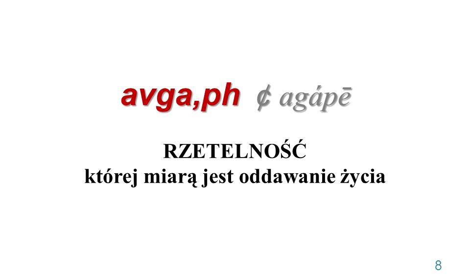 avga,ph ¢ agápē RZETELNOŚĆ której miarą jest oddawanie życia