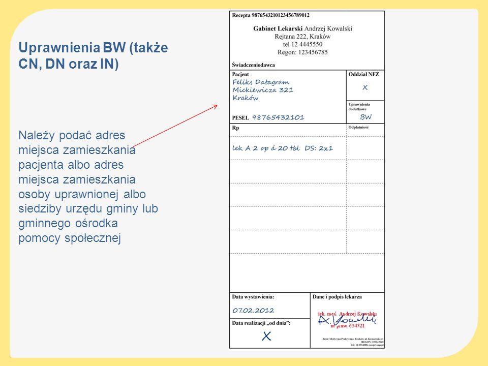 Uprawnienia BW (także CN, DN oraz IN)