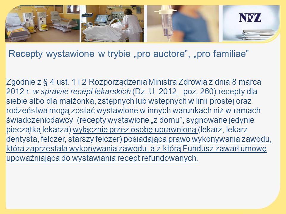 """Recepty wystawione w trybie """"pro auctore , """"pro familiae"""