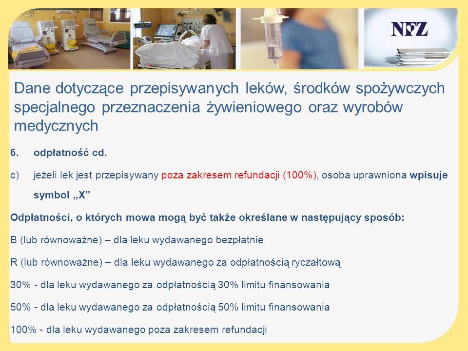 Dane dotyczące przepisywanych leków, środków spożywczych specjalnego przeznaczenia żywieniowego oraz wyrobów medycznych