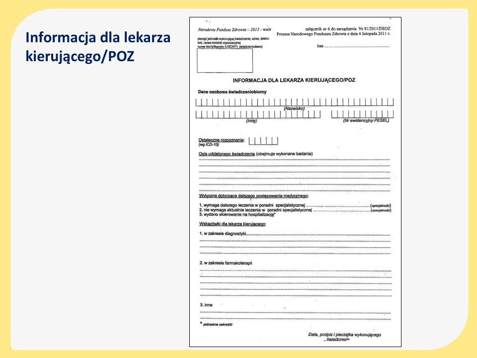 Informacja dla lekarza kierującego/POZ