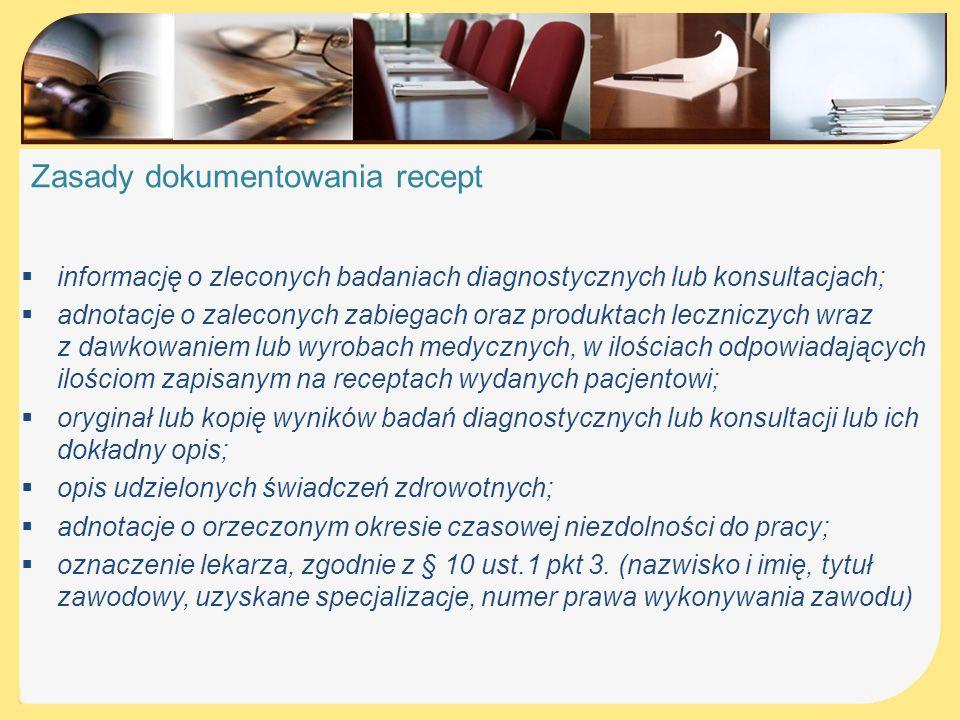 Zasady dokumentowania recept