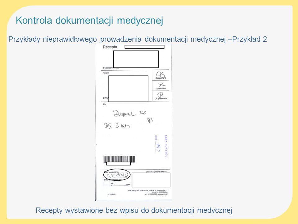 Recepty wystawione bez wpisu do dokumentacji medycznej