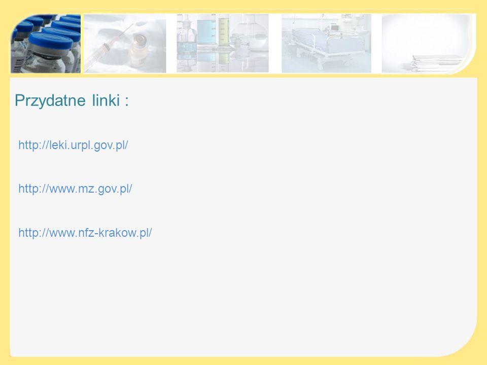 Przydatne linki : http://leki.urpl.gov.pl/ http://www.mz.gov.pl/
