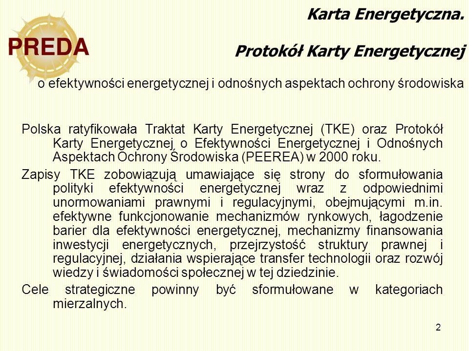 Karta Energetyczna. Protokół Karty Energetycznej o efektywności energetycznej i odnośnych aspektach ochrony środowiska