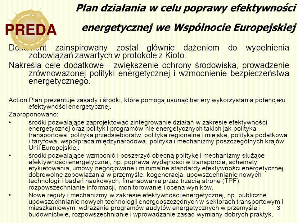 Plan działania w celu poprawy efektywności energetycznej we Wspólnocie Europejskiej