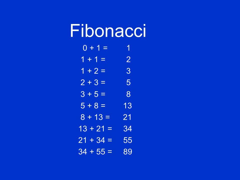 Fibonacci 0 + 1 = 1 1 + 1 = 2 1 + 2 = 3 2 + 3 = 5 3 + 5 = 8 5 + 8 = 13