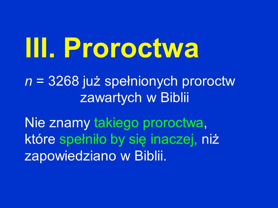 III. Proroctwa n = 3268 już spełnionych proroctw zawartych w Biblii