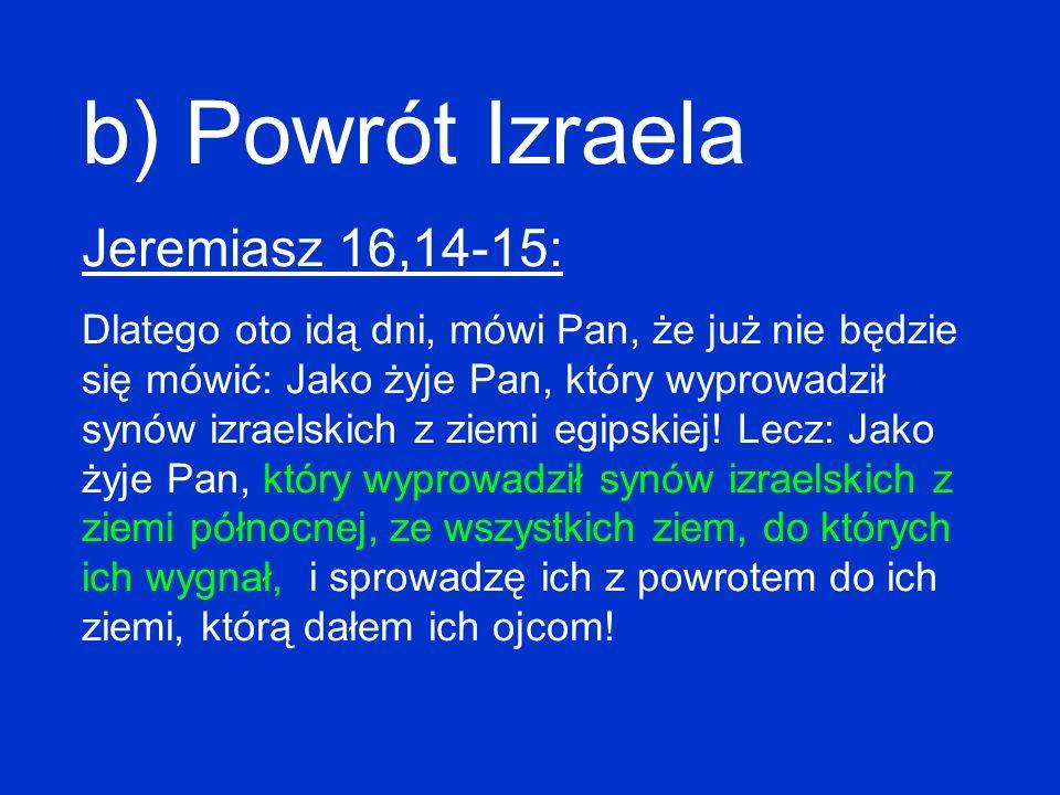 b) Powrót Izraela Jeremiasz 16,14-15: