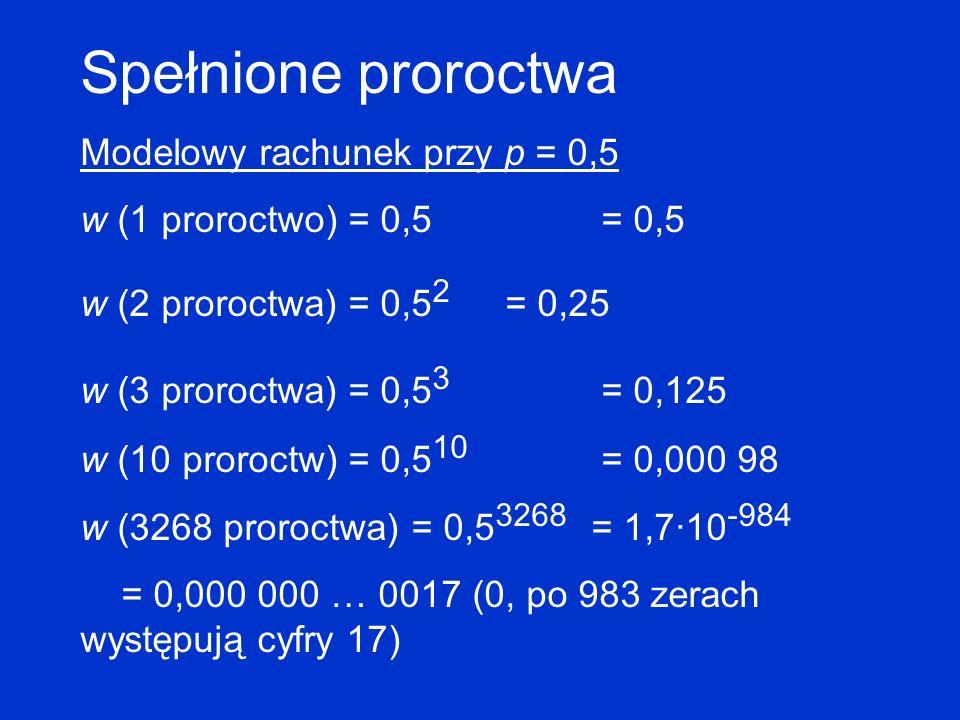 Spełnione proroctwa Modelowy rachunek przy p = 0,5