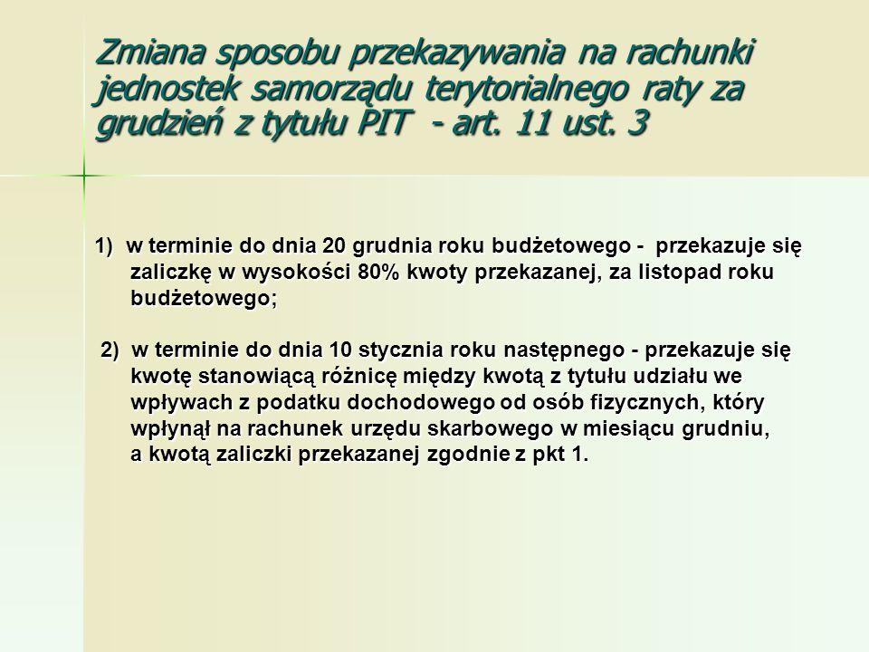 Zmiana sposobu przekazywania na rachunki jednostek samorządu terytorialnego raty za grudzień z tytułu PIT - art. 11 ust. 3