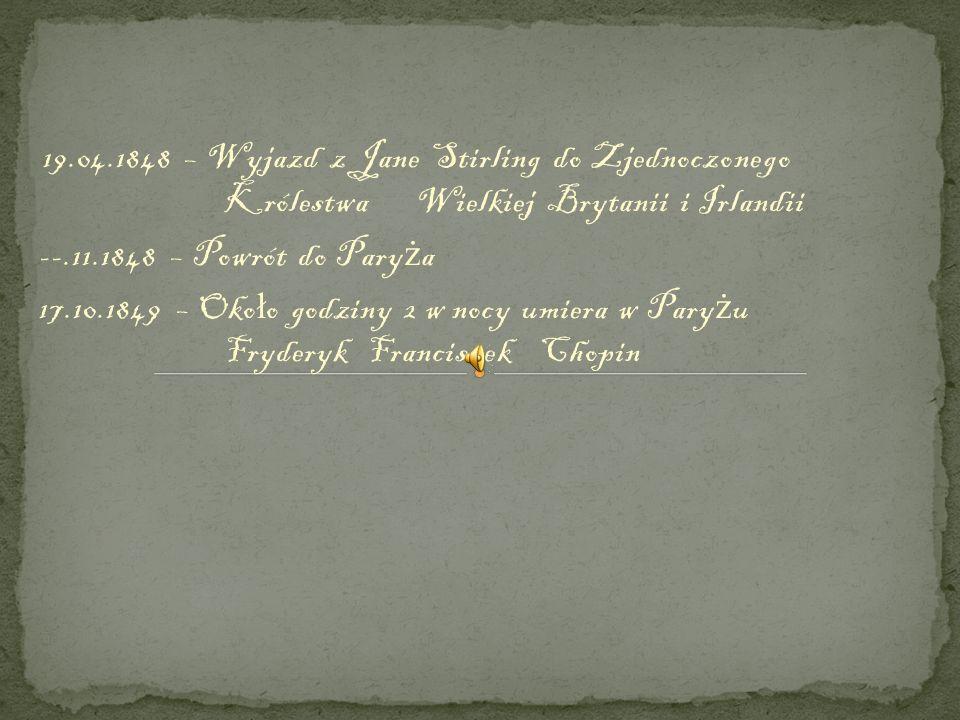 19. 04. 1848 – Wyjazd z Jane Stirling do Zjednoczonego. Królestwa