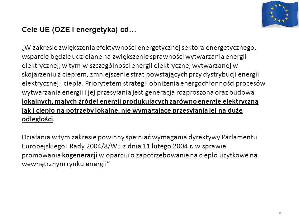 Cele UE (OZE i energetyka) cd…