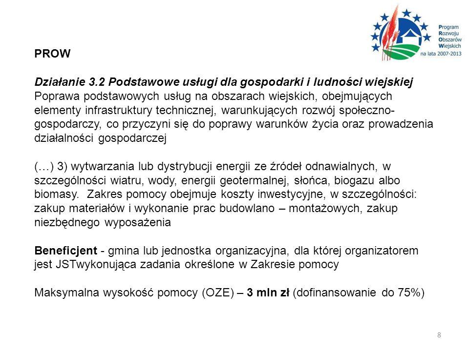 PROW Działanie 3.2 Podstawowe usługi dla gospodarki i ludności wiejskiej