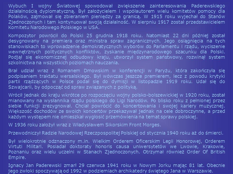Wybuch I wojny Światowej spowodował zwiększenie zainteresowania Paderewskiego działalnością dyplomatyczną. Był założycielem i współautorem wielu komitetów pomocy dla Polaków, zajmował się zbieraniem pieniędzy za granicą. W 1915 roku wyjechał do Stanów Zjednoczonych i tam kontynuował swoją działalność. W sierpniu 1917 został przedstawicielem Komitetu Narodowego Polskiego w USA.
