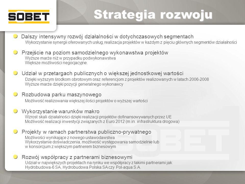 Strategia rozwoju Dalszy intensywny rozwój działalności w dotychczasowych segmentach.