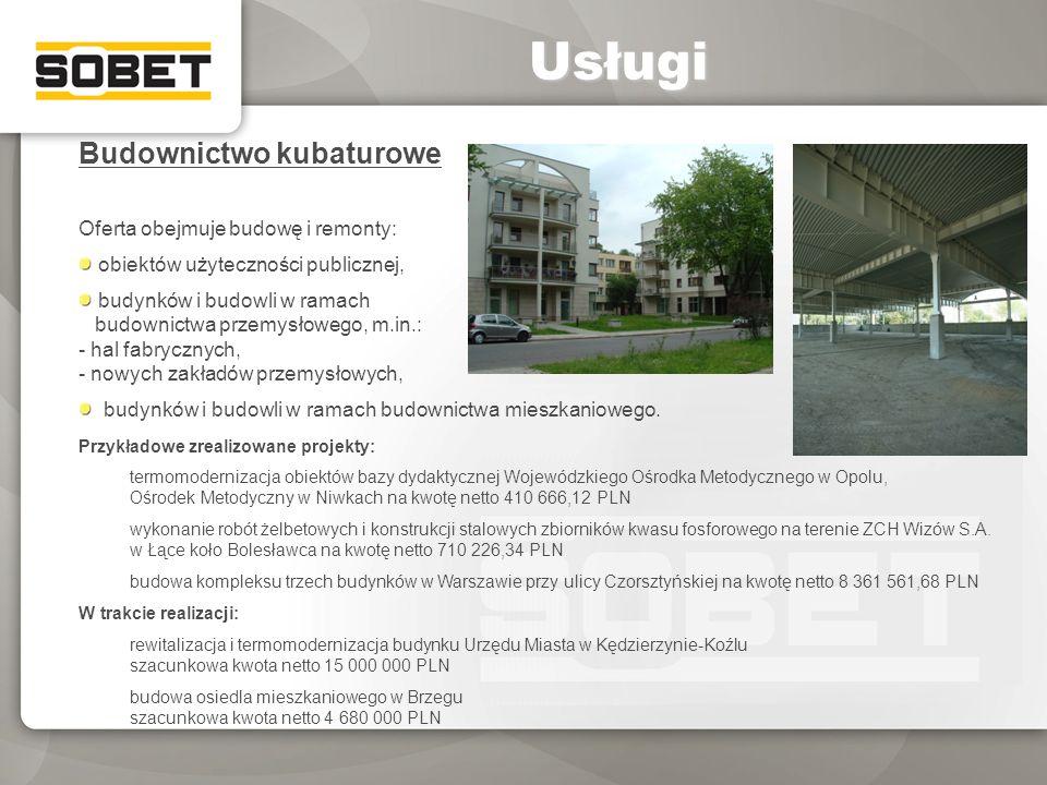 Usługi Budownictwo kubaturowe Oferta obejmuje budowę i remonty: