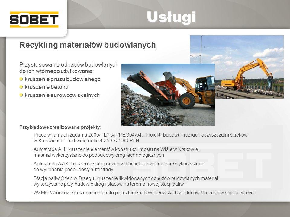 Usługi Recykling materiałów budowlanych