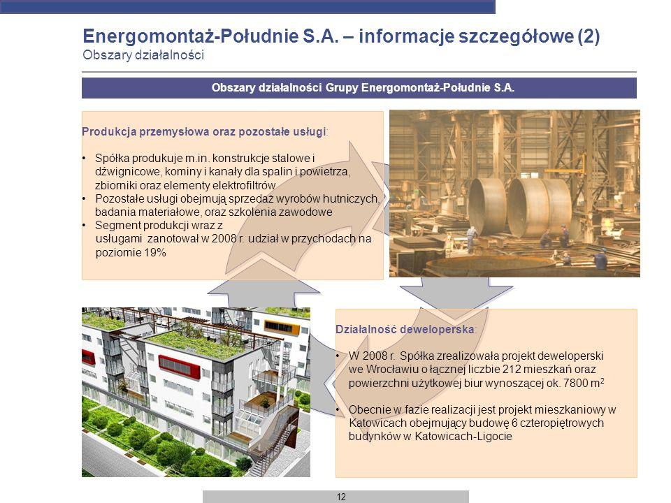 Obszary działalności Grupy Energomontaż-Południe S.A.