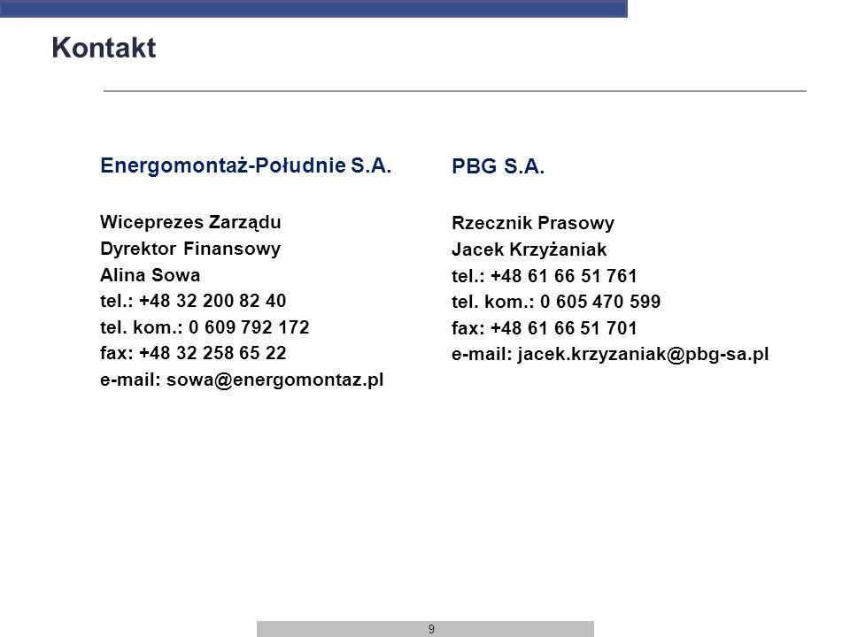 Kontakt Energomontaż-Południe S.A. PBG S.A. Wiceprezes Zarządu