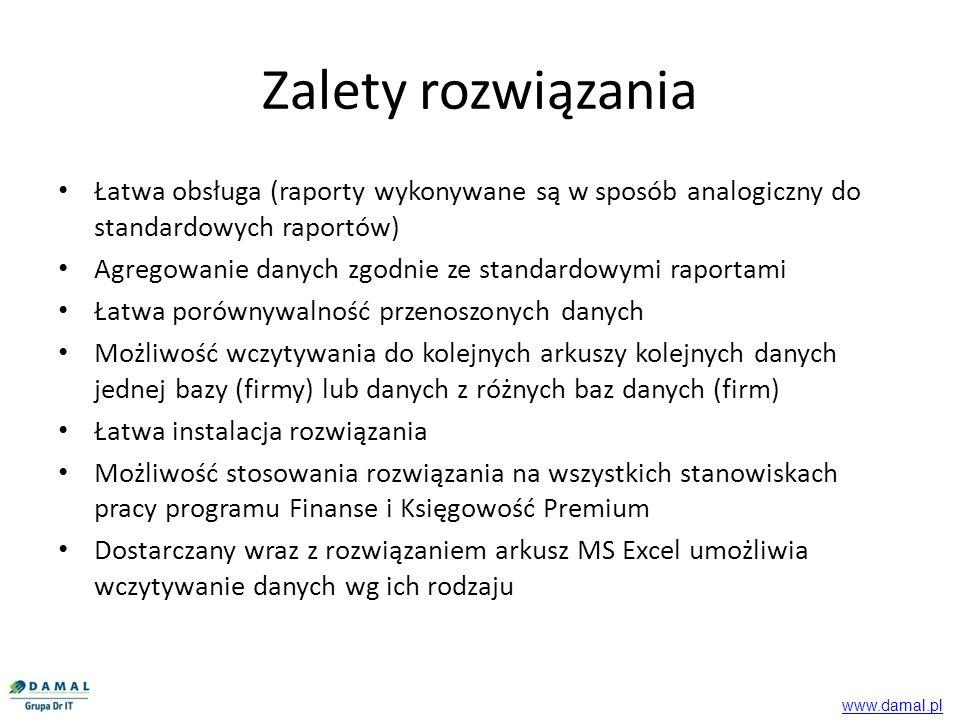 Zalety rozwiązania Łatwa obsługa (raporty wykonywane są w sposób analogiczny do standardowych raportów)