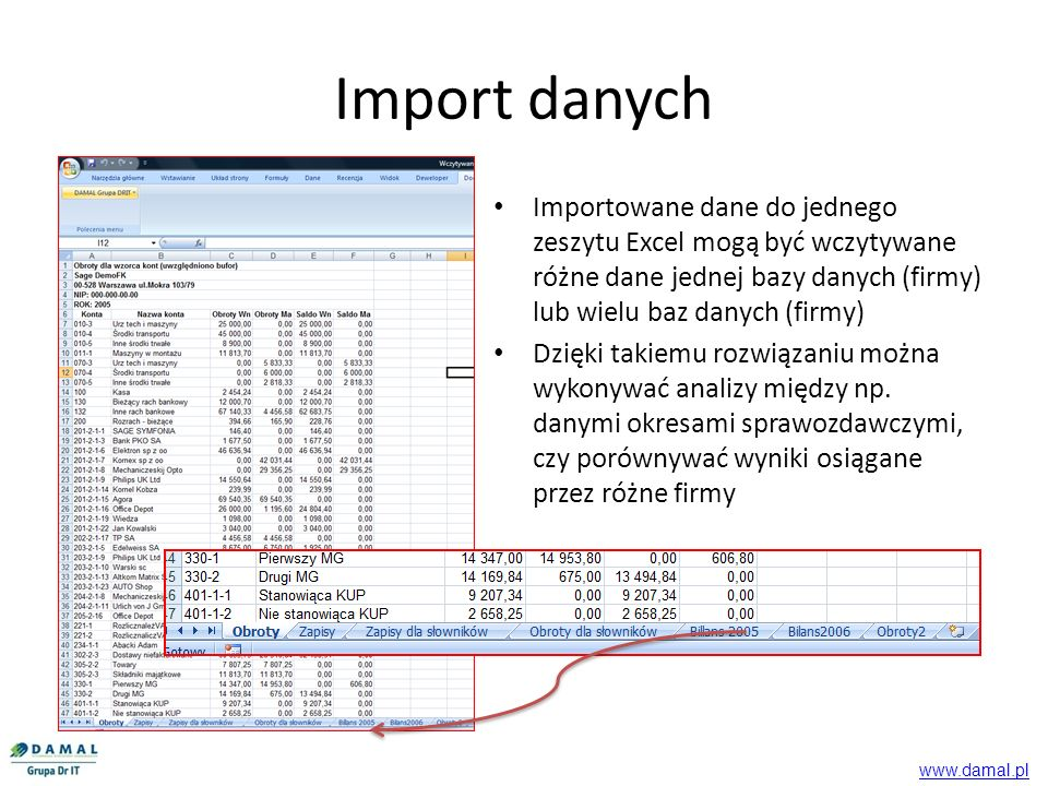 Import danych Importowane dane do jednego zeszytu Excel mogą być wczytywane różne dane jednej bazy danych (firmy) lub wielu baz danych (firmy)