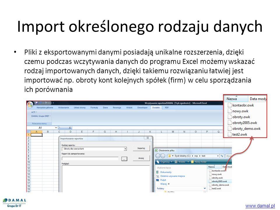 Import określonego rodzaju danych