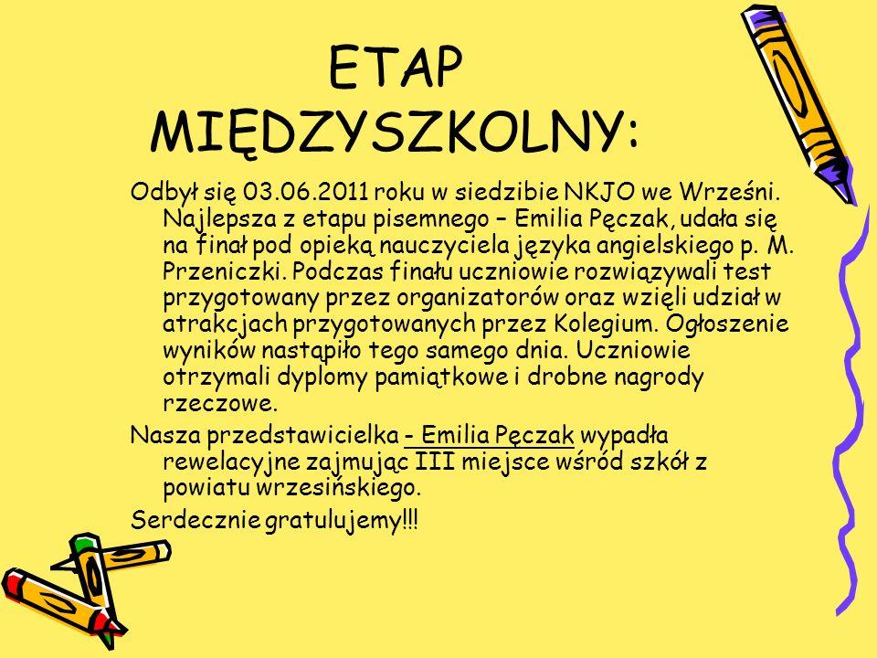 ETAP MIĘDZYSZKOLNY: