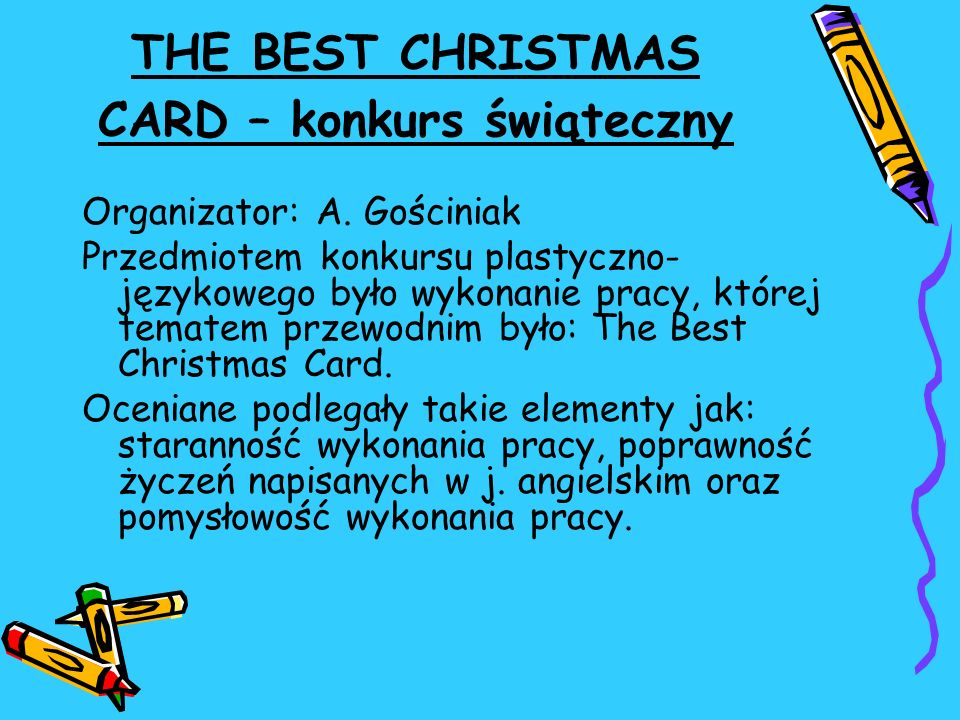 THE BEST CHRISTMAS CARD – konkurs świąteczny