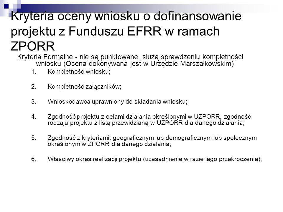 Kryteria oceny wniosku o dofinansowanie projektu z Funduszu EFRR w ramach ZPORR