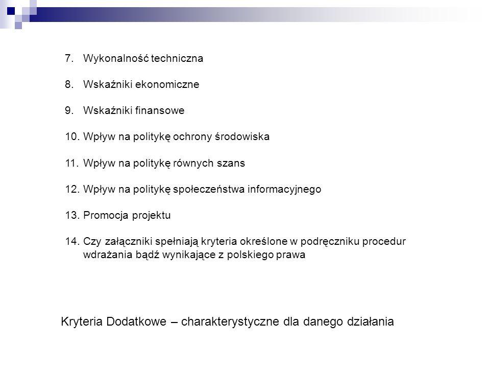 Kryteria Dodatkowe – charakterystyczne dla danego działania