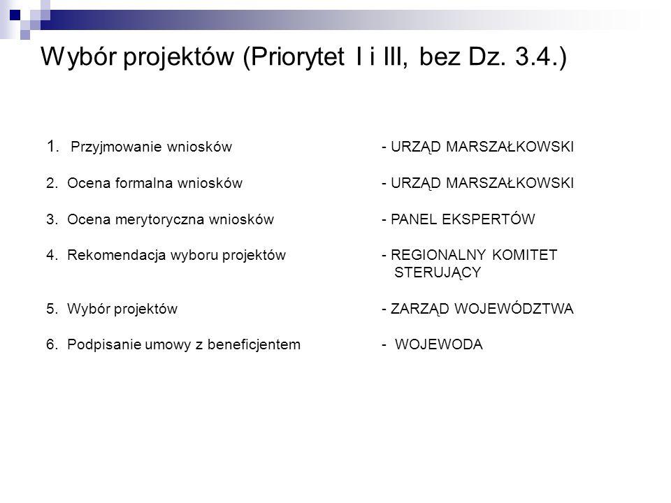 Wybór projektów (Priorytet I i III, bez Dz. 3.4.)