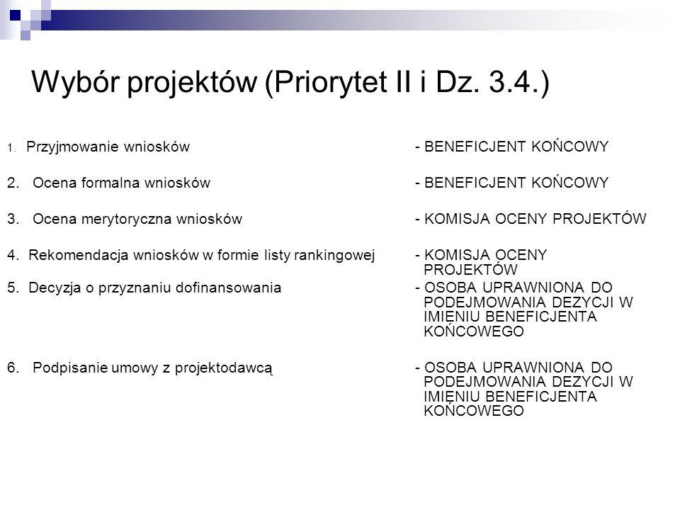 Wybór projektów (Priorytet II i Dz. 3.4.)
