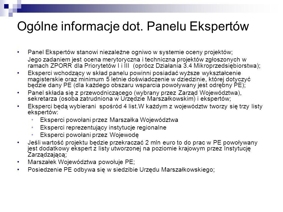 Ogólne informacje dot. Panelu Ekspertów