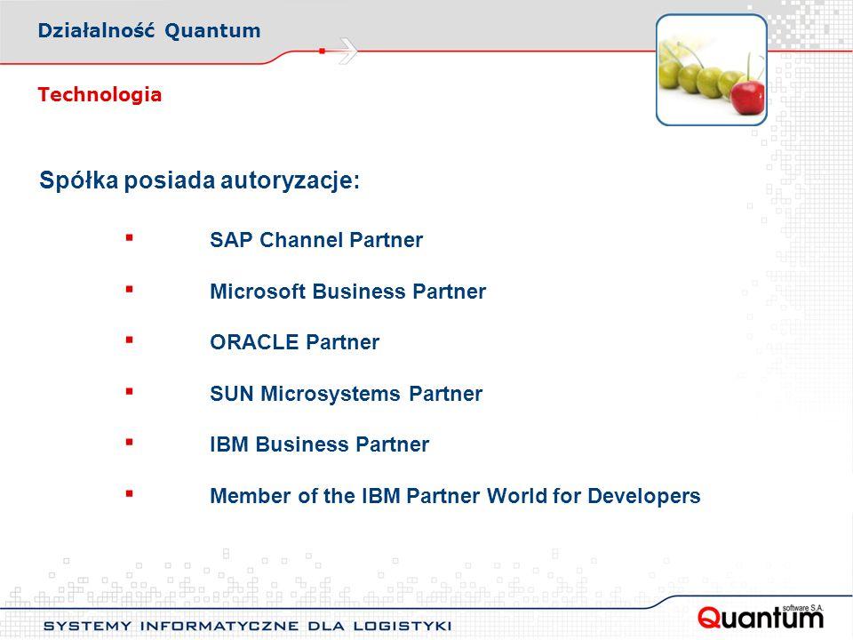 Spółka posiada autoryzacje: ▪ SAP Channel Partner